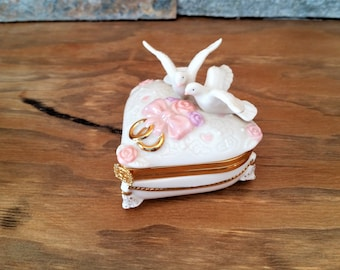 Vintage ceramic Lenox Treasures trinket box - heart shaped box - 2 doves wedding ring box - collectible wedding heart box - our special day
