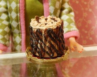 1:6 Scale Whole Mocha & Chocolate Lattice Cake Miniature Handmade Barbie Playscale Dollhouse Bakery Item Mini Collector Gift