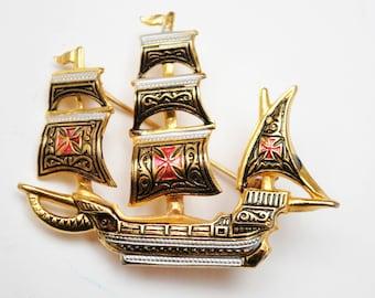 Damascene Boat  Brooch  - Gold and Black enamel - Signed Spain - Sail boat figurine pin