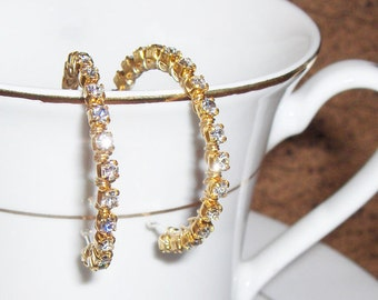 Rhinestone Elegance Earrings - SS/Goldtone