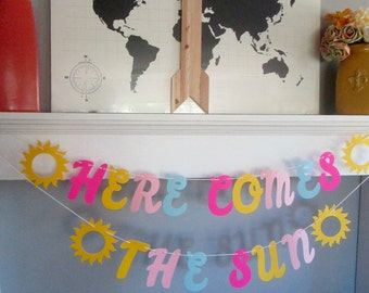 Here Comes The Sun, Bright Sunshine-y banner, Lemonade Party, Sunshine Party, Pink, Blue, Yellow banner, Sunny Birthday, Winter Doldrums