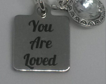 "NEW ~  ""You are loved"" Great Gift ~ 925 Sterling Silver Necklace with bezel Crystal-JW.org ~ Convention Gift 2018"
