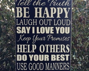 Family Rules Wood Sign - Customizable