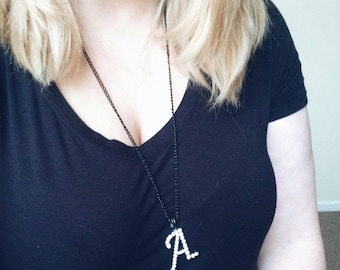 Letter A Name Initial Rhinestone Black Necklace Gunmetal Trio Necklace Long Necklace Chain Necklace