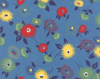 By The HALF YARD - Fresh Air by American Jane for Moda Fabrics, Patt #21670-16 Blue Straw Main Floral, Yellow Red and Green Flowers on Blue