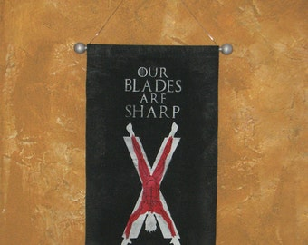"Hand Painted House Bolton Canvas Banner - ""Our Blades Are Sharp"" - Game of Thrones - Flayed Man - Roose Bolton - Ramsay Snow"