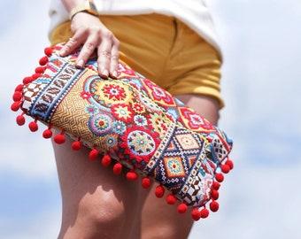 Pochette à main bohème, pochette à main hippie chic, sac tendance jacquard, grande pochette ethnique, sac de soirée, cadeau femme, patchwork