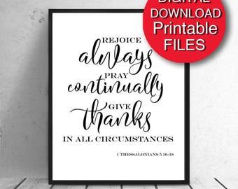 Printable Art Thessalonians Give Thanks Bible Verse Scripture 5x7 8x10 11x14 16x20 A3 A4