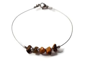 Tiger eye jewelry, delicate silver bracelet, gemstone jewelry, dainty bracelet, gemstone bracelet, wire jewelry, dainty jewelry silver shiny