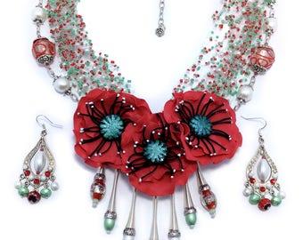 Ethnic jewelry Ukrainian jewelry Poppy jewelry Poppy necklace Ethnic jewelry set Rustic jewelry Necklace earring  White pearl necklace