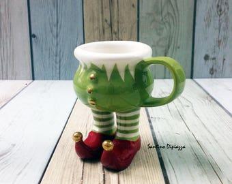 Elfo Espresso tazza, decorazione della tavola di Natale, Babbo Natale Little Helper, Coppa Italia a mano, camminando ceramiche, novità Ware, tazza con le gambe