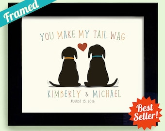 Dog Lover Wedding Gift, Puppy Love, Dog in Wedding, Black Labrador Retriever, Personalized Framed Gift Art Print Couples Gift Newlyweds