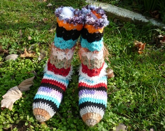 PATTERN Crochet boot sock, colorful sock, crochet boot slippets, woman sock, Handmade Freeform Crochet sock, multicolor sock, funky sock