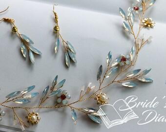 Wedding hair jewelry, opal crystals bridal wreath, gold hair vine