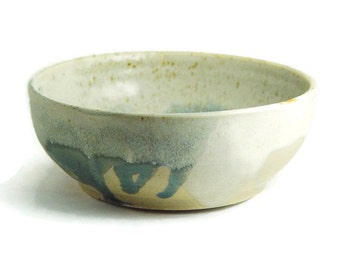 6 inch Porcelain Bowl, Blue Cream & Grey, Unique Soup or Cereal Serving Dish Handleless, Handmade Wheel Thrown high fired pottery