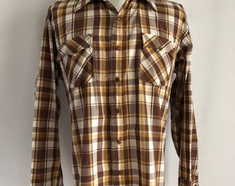 Vintage 80's Men's 70's Plaid, Shirt, Long Sleeve, Button Down by Kingsport (XL)