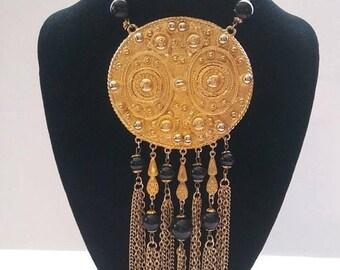 ON SALE Huge Pendant Goldette Signed Necklace, 50's 60's Statement Jewelry, Old Hollywood Glam, Gift Idea For Her, Runway Designer Necklace