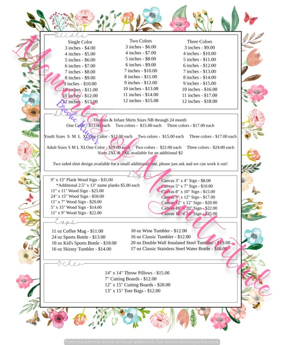 Garden Floral Price Sheet Vinyl Business Digital