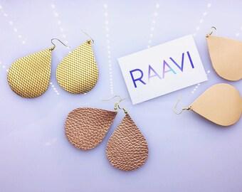 """Leather Teardrop Earrings, Boho Leather Earrings, Dangle Earrings,Lightweight earrings, Hook Earrings, Raavi """"Gravity"""" Leather Earrings"""