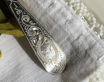 Antique Kuehl Sterling Silver Spoon Engraved C.L. German Hallmark Moon & Crown Franz Bahner Dusseldorf - #R0095