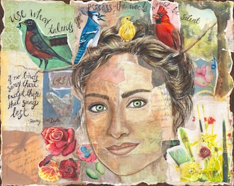 Use your Talents Mixed Media Portrait, Original Art, Colorful Birds, Quote, Woman's Face