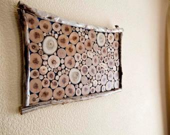 WOOD SLICE Wall Art/sliced wood art/ wood wall art,Wall Wood Art/ reclaimed wood art /  Tree Slices on Clear Panel/ Sliced Wood Art