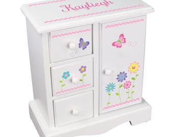 Personalized Girls Garden Flower Jewelry Box Stemmed Flowers Jewelry Armoire custom tall jewelry chest for necklaces butterfly jewee-whi-301