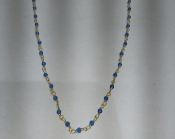 SGR141 one foot 2mm blue chalcedony gold plated wire rosary chains/wire wrapped chain  .