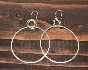 Sterling Silver Hoop Earrings, Big Hoop Earrings, Large Hoops