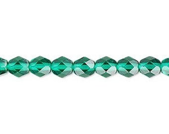 6mm Emerald Green Firepolish Glass, 6mm Faceted Green Glass, 6mm Firepolish, 6mm Green Firepolish, St Patricks Day, Christmas Green, Emerald