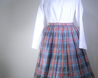 Vintage Circle Skirt 1950s Bubble Skirt Shiny Plaid Full Pleated Party Skirt with Crinoline