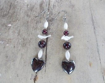 Heart Hematite Mother of Pearl Bird Earrings
