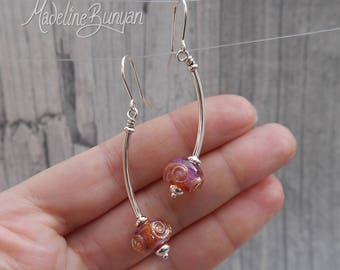 Pink and sparkling gold lampwork glass and curved silver drop earrings Sterling Silver SRA.