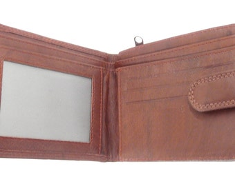 Mens Leather Wallet and Credit Card Holder With Zip Coin Section - Has 3 Credit Cards slots and ID Window. 90312D-BURG