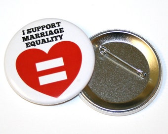 I Support Marriage Equality Pinback Button Badge Pin equal love gay marriage
