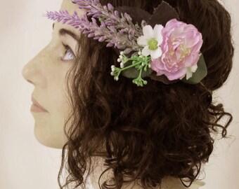 Hippie flower crown, Flower girl wreath, woodland crown, Hair wreath, Rustic flower crown, Bridal floral crown, Flower girl halo