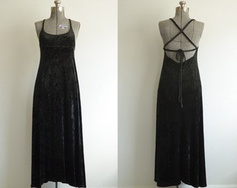 1990s Express Tricot Black Velvet Cross Strap Maxi Dress Size M