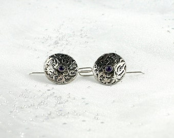 Sterling silver earrings with amethyst. Gemstone unique earrings. Classic simple silver earrings. Gift for her.