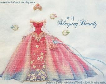 Brooke's Books #11 Sleeping Beauty - Fairy Tale Princess Dress Up - Cross Stitch Chart HARD COPY