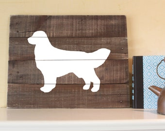 Golden Retriever Silhouette - Reclaimed Wood Sign, Wall Art, English Retriever, Cream, Golden, dog, Hand-painted, Gift, Decor, rustic, wood