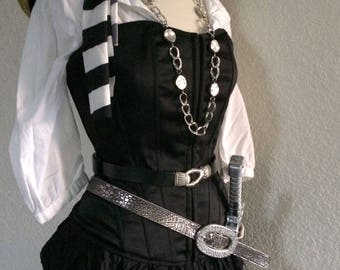 Large Adult Pirate Halloween Costume Including Corset, Jewelry & Accessories - Black + White - Women's Large
