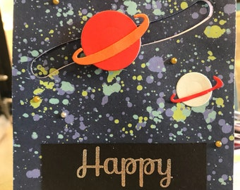 Planets and stars in outer space happy birthday slider card