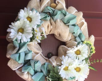 Spring Wreath with blue ribbon and daisies