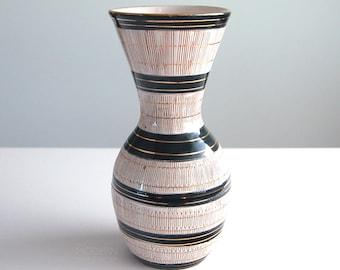 Bitossi Seta Italian Black Gold White Tall Ceramic Vase