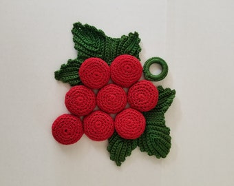 Vintage crochet cherries with leaves attached green and red handmade