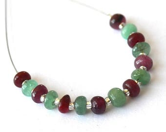 Beautiful set of 15 slices of Emerald and Ruby