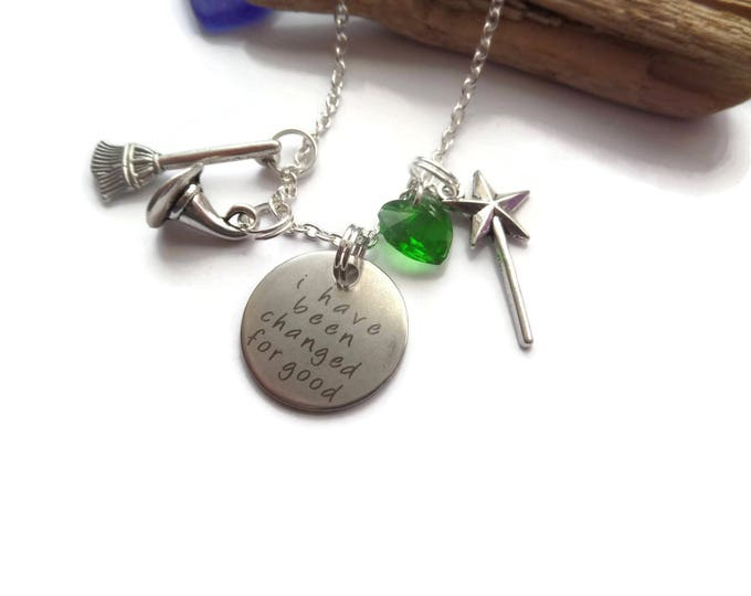 wicked musical, wicked necklace, changed for good, changed necklace, witch necklace, wand necklace, broomstick necklace, sandykissesuk