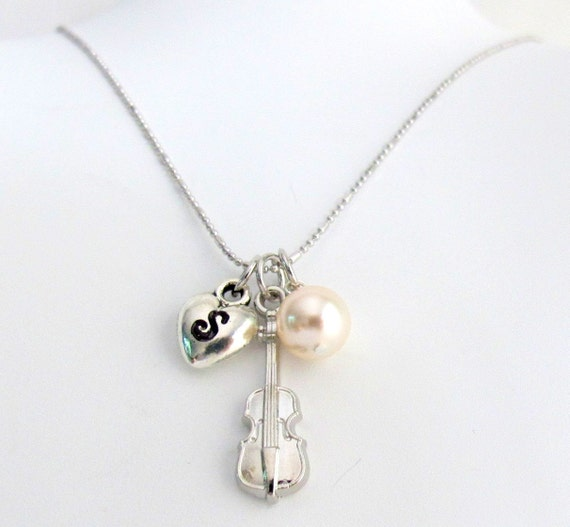 Cello Necklace,initial necklace, tiny violin necklace, musical jewelry, string instrument charm, cello necklace Free Shipping In USA