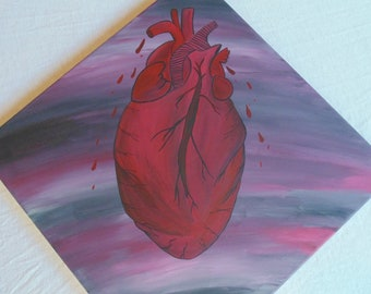 Original OOAK Anatomical Heart Painting, Corner Painting, Square, Abstract, Bleeding Heart, Grey, Red, Pink, Black, White, Goth, Decor