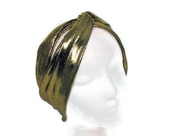 Gold Turban Head Wrap Turban Headband Flapper Head Wrap 20's Headband Gatsby Headband Gold Lycra Turban Headband Gold Headwrap/CUSTOM SIZE